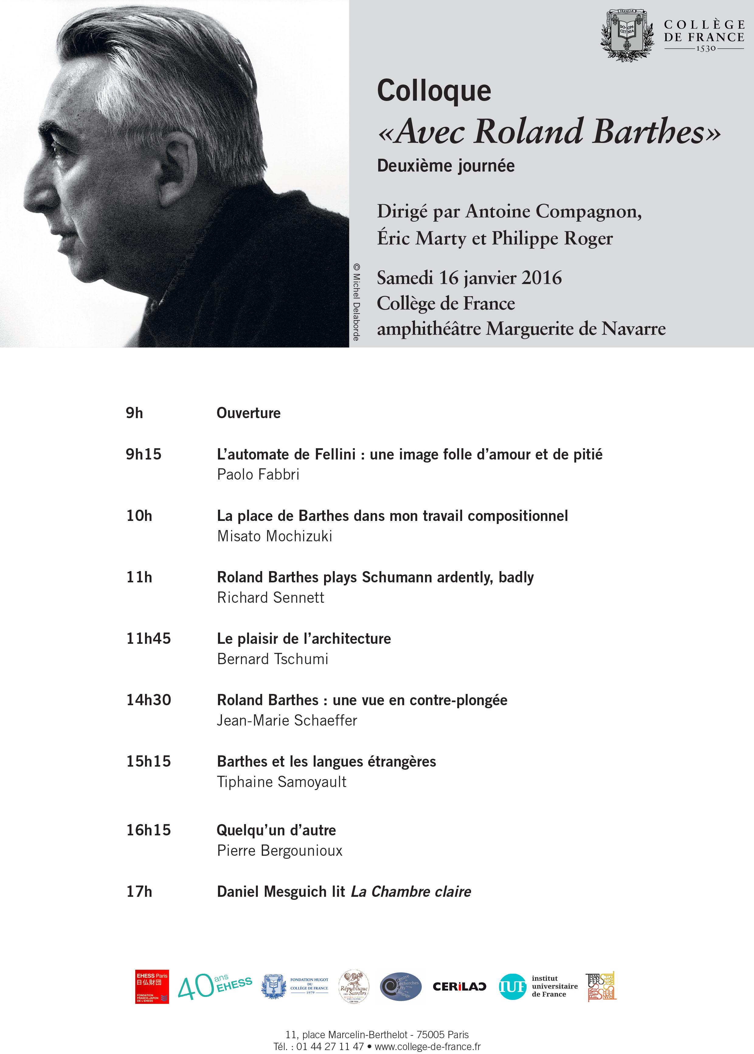 Avec Roland Barthes (2nde journée)