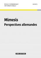 Mimesis. Perspectives allemandes (Revue germanique internationale, n° 22, 2015)
