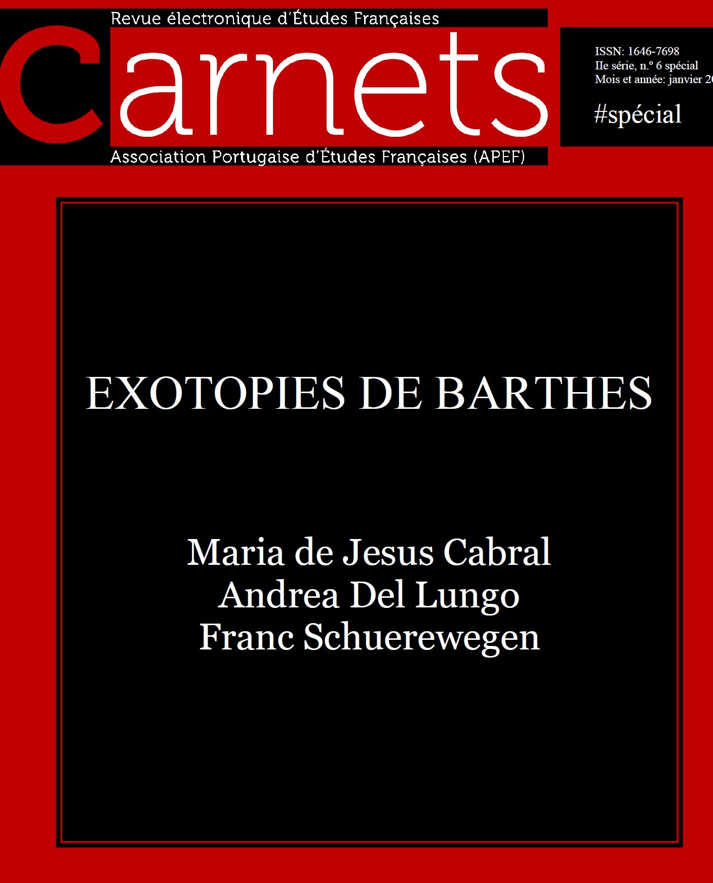 Exotopies de Barthes, Carnets, nº spécial janv. 2016