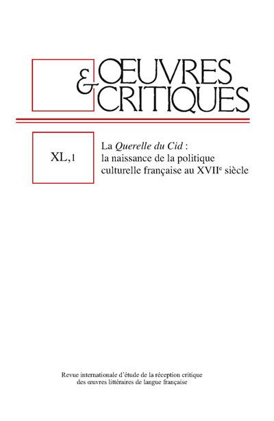 Œuvres & Critiques, XL, 1, 2015 :