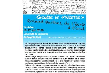 Genèse du neutre. R. Barthes de l'écrit à l'oral (Lausanne)