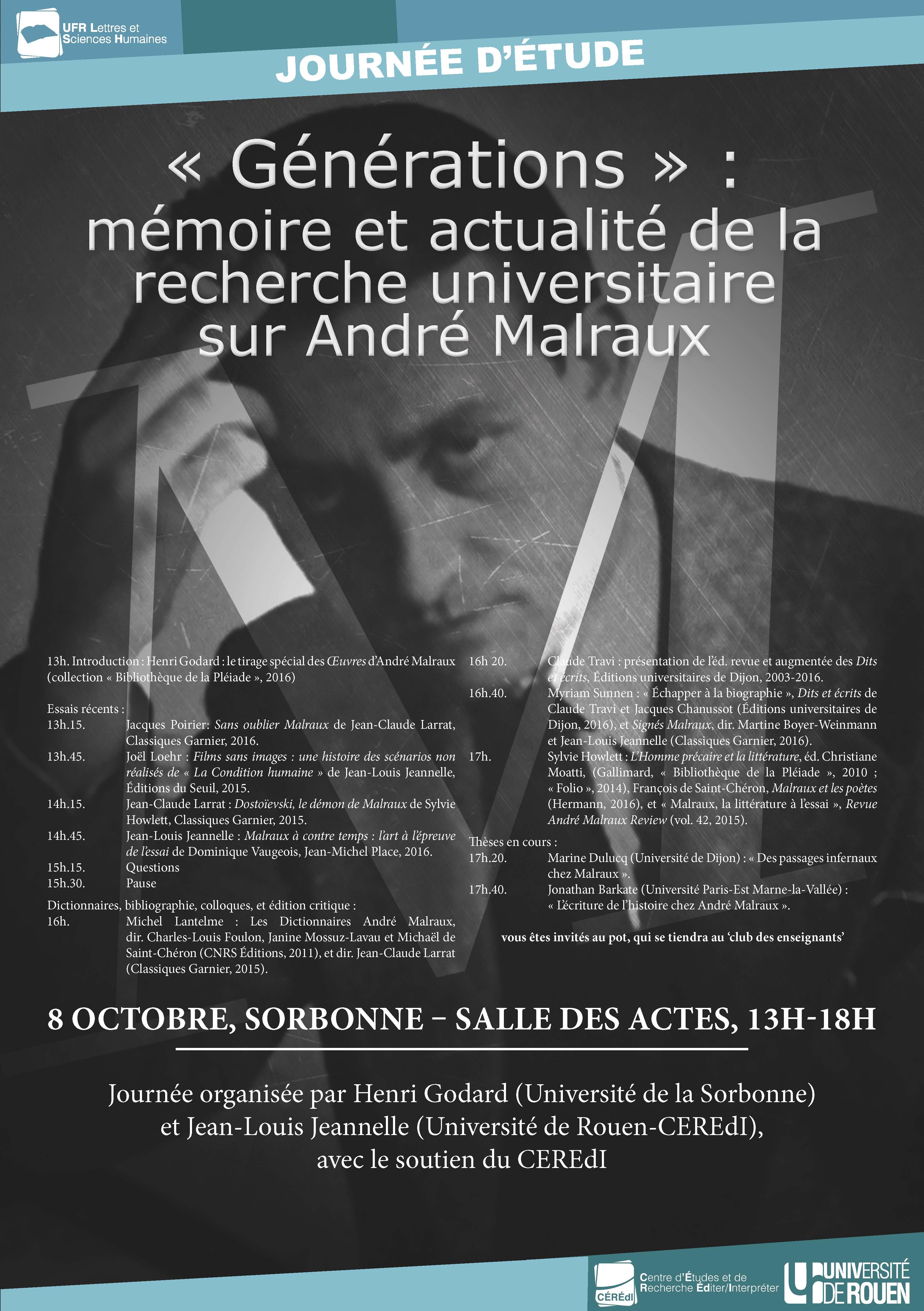 « Générations » : mémoire et actualité de la recherche universitaire sur André Malraux