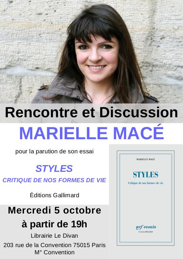 Rencontre autour de Styles, de Marielle Macé