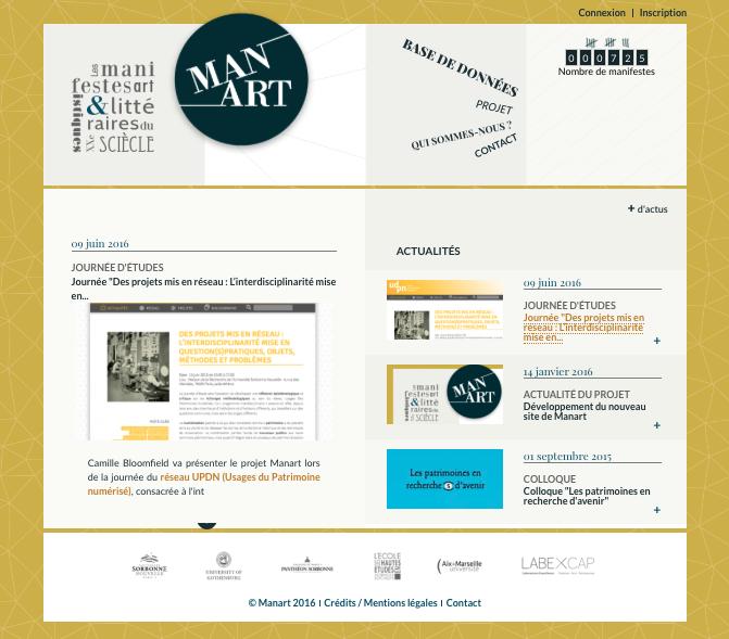 Base Manart : répertoire des manifestes artistiques et littéraires du XXe siècle