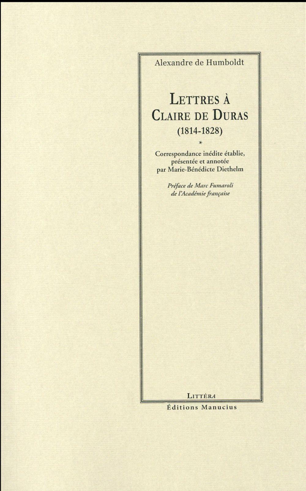 A. de Humboldt, Lettres à Claire de Duras (1814-1828)