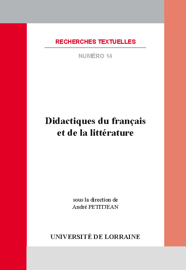 A. Petitjean (dir.), Didactiques du français et de la littérature