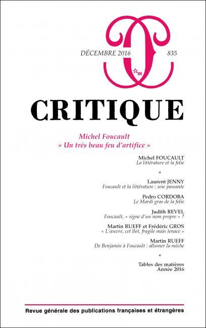 Critique, n° 835 :