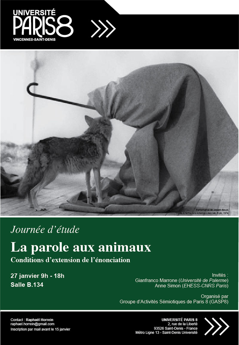 La parole aux animaux. Conditions d'extension de l'énonciation (Paris 8)