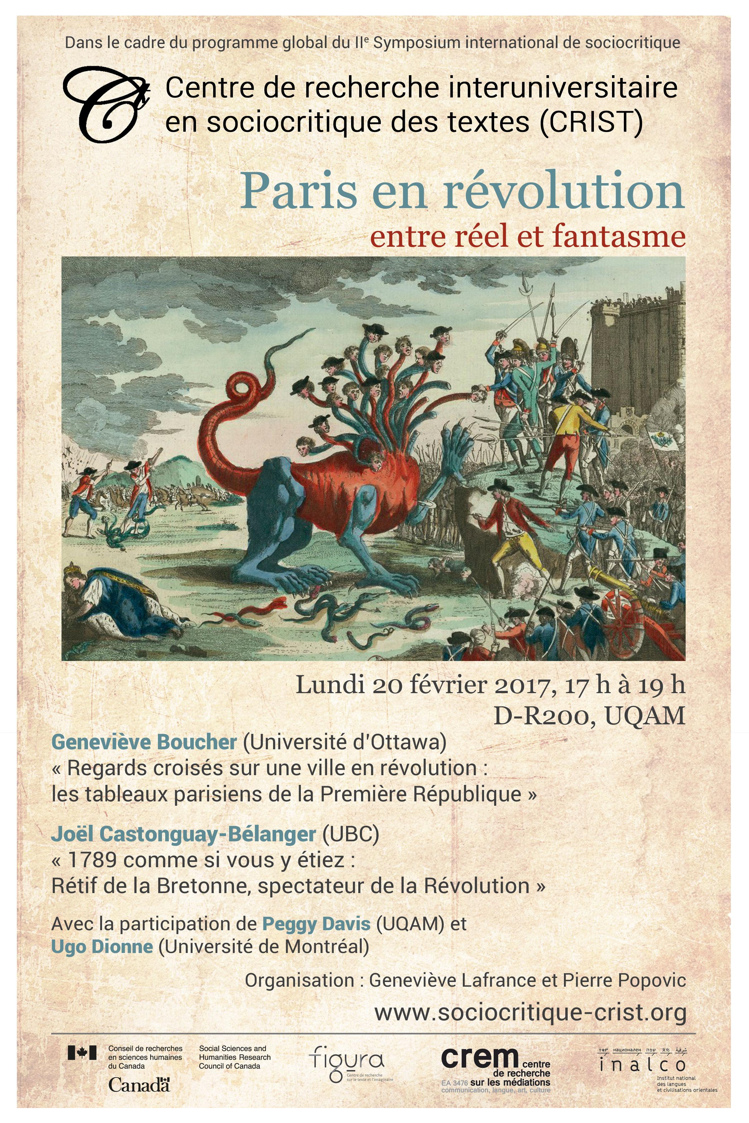 Paris en révolution : entre réel et fantasme. Conférence double (CRIST)