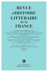 Revue d'histoire littéraire de la France, 1-2017 :