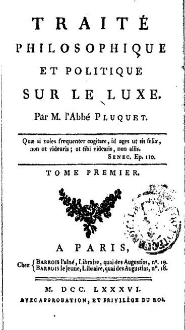 Contre le luxe – XVIIe et XVIIIe s. (Bordeaux)