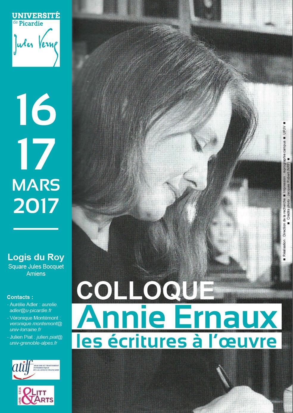 Annie Ernaux, les écritures à l'œuvre (Amiens)