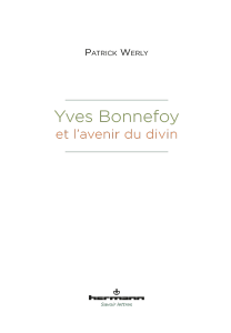 P. Werly, Yves Bonnefoy et l'avenir du divin