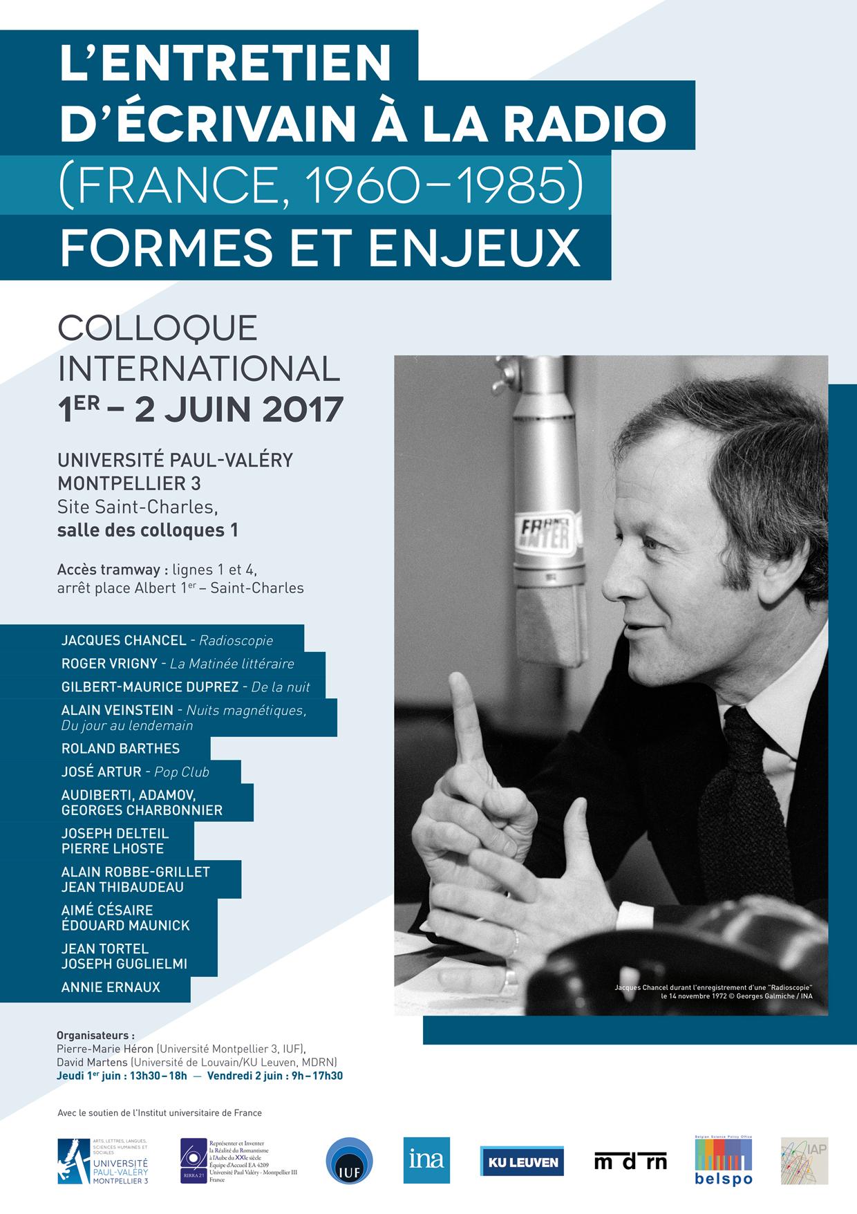 L'entretien d'écrivain à la radio (France, 1960-1985). Formes et enjeux, Université de Montpellier, 1er & 2 juin 2017