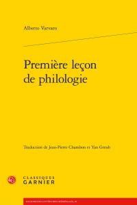 A. Varvaro, Première leçon de philologie (éd. J.-P. Chambon, Y. Greub)