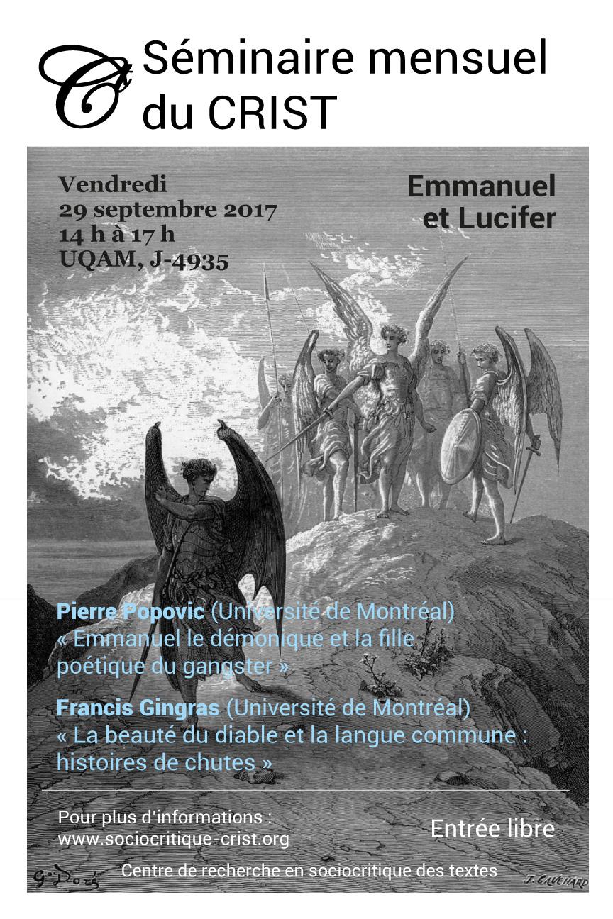 Emmanuel et Lucifer. Deuxième séance du séminaire mensuel du CRIST (Montréal)