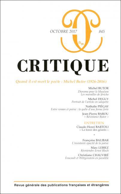 Critique n° 845 : Quand il est mort le poète : Michel Butor