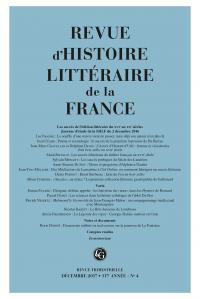 Revue d'Histoire littéraire de la France, 117e année - n° 4, Les Succès de l'édition littéraire du XVIe au XXe siècles,