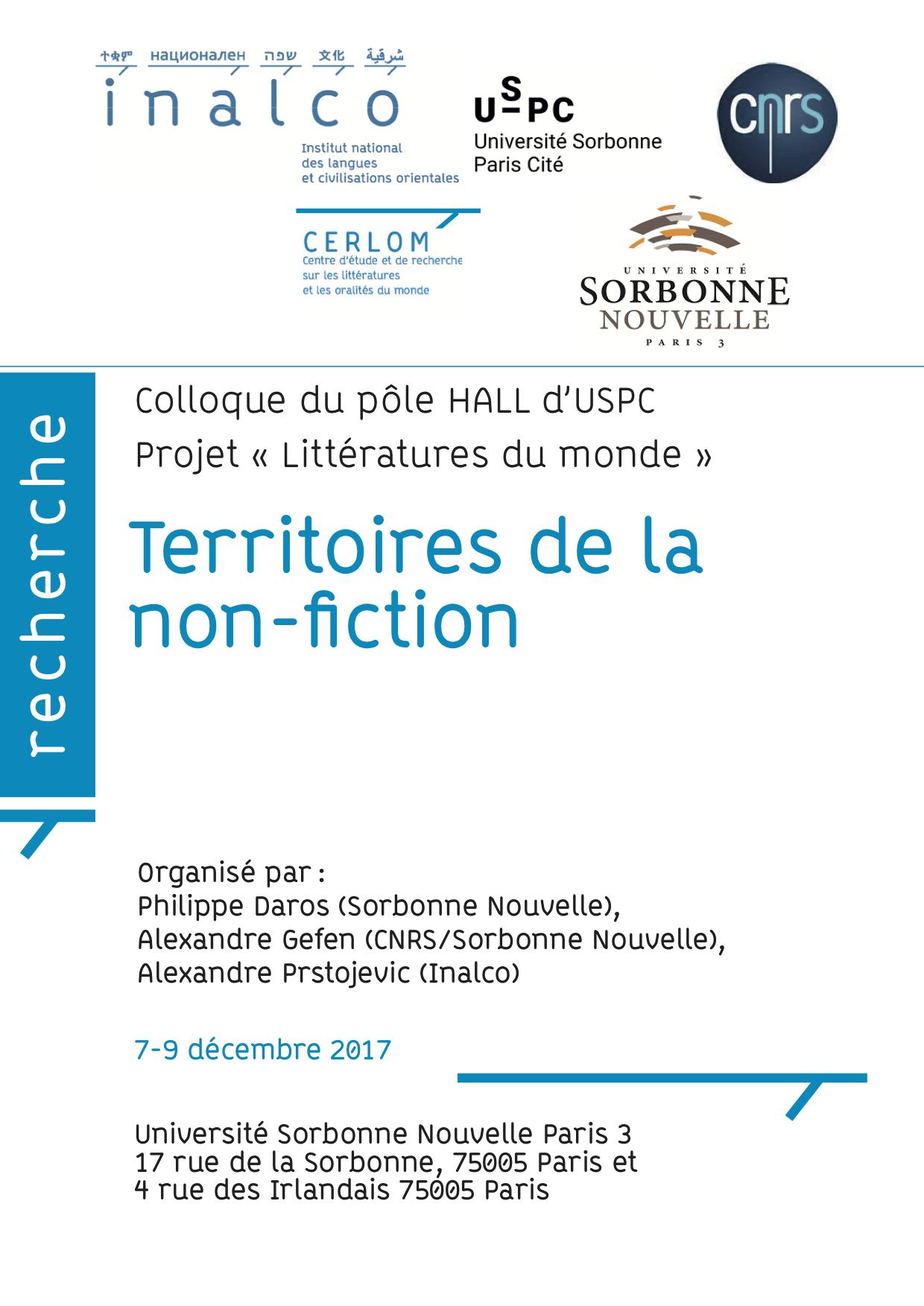 Territoires de la non-fiction (Paris 3)