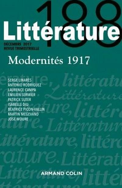 Littérature n° 188 (2017): « Modernités 1917 »