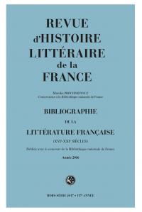Bibliographie de la littérature française, RHLF 2017 (Année 2016)
