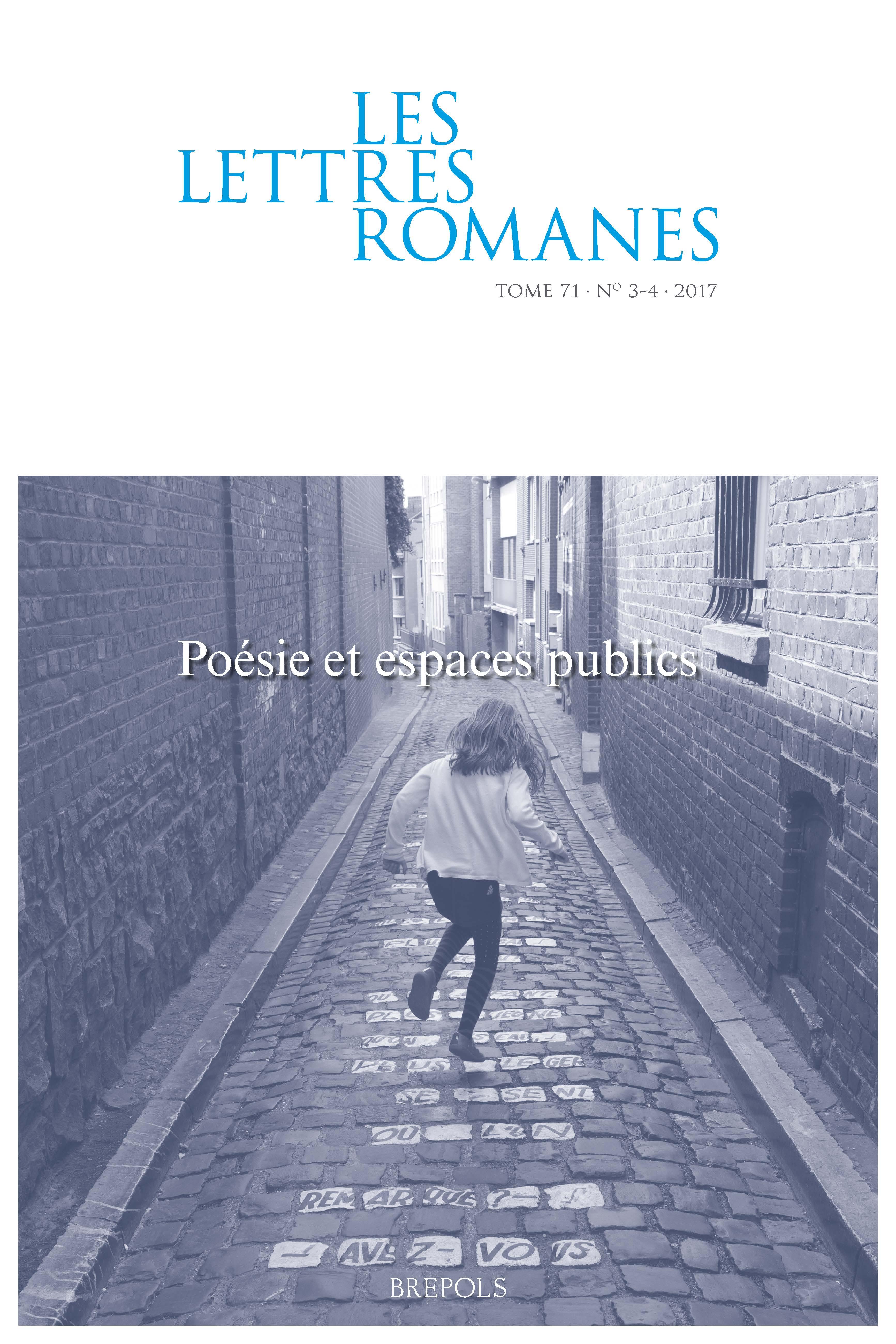 Les Lettres romanes, t. 71, n° 3-4, 2017 :