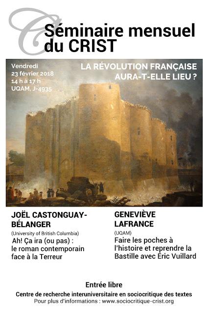 La Révolution française aura-t-elle lieu? Septième séance du séminaire mensuel du CRIST (Montréal)