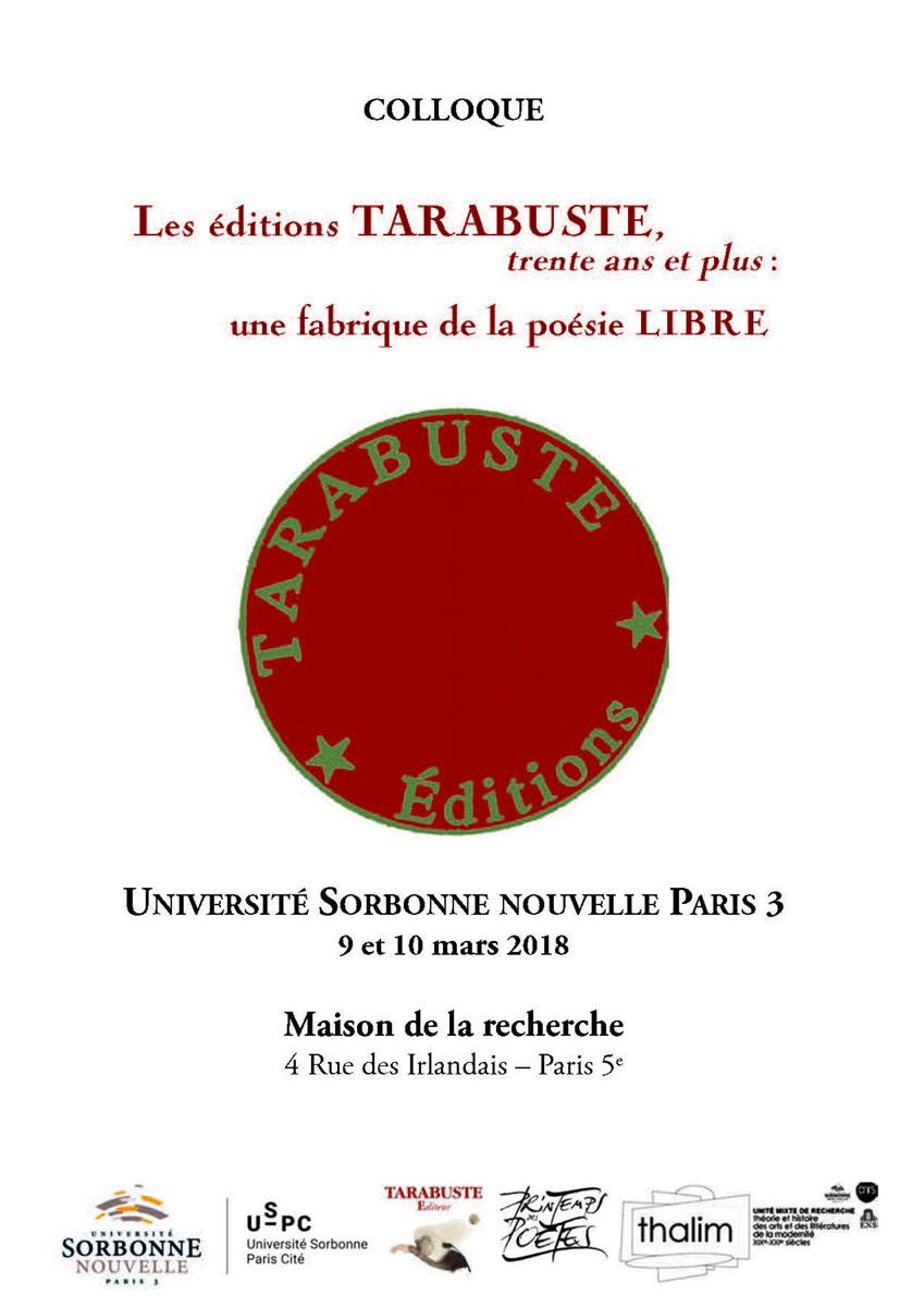 Les éditions Tarabuste, 30 ans et plus : la fabrique d'une poésie libre (Paris)
