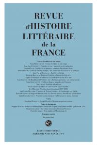 Revue d'Histoire littéraire de la France, 2018-1