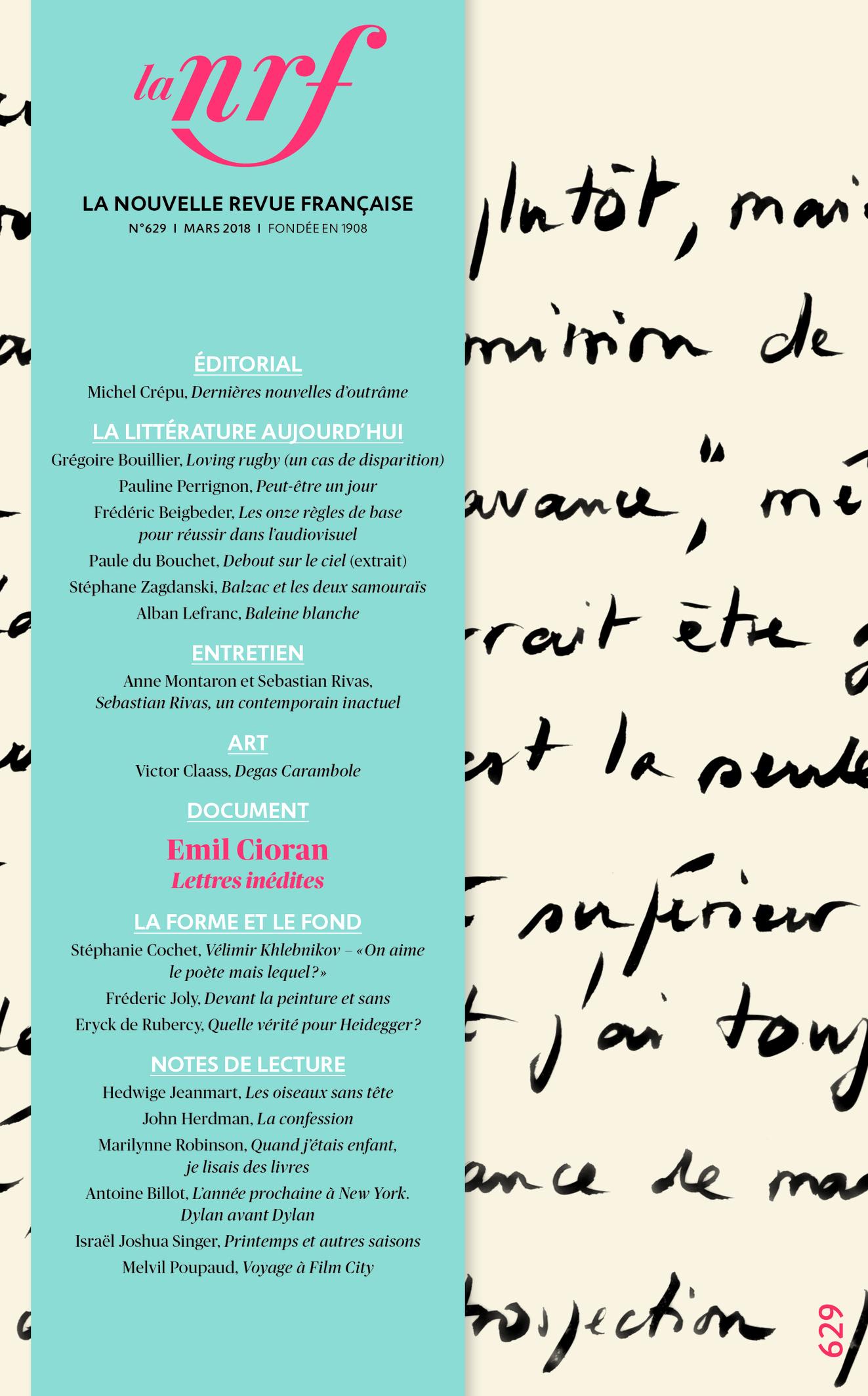 La Nouvelle Revue Française, n° 629
