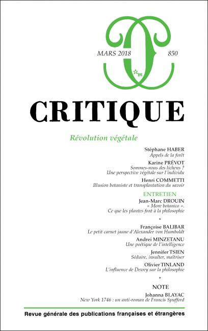 Critique n° 850 : Révolution végétale
