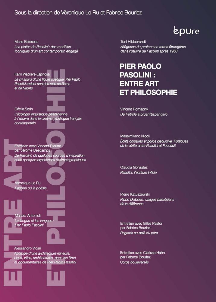 V. Le Ru, F. Bourlez (dir.), Pier Paolo Pasolini : entre art et philosophie