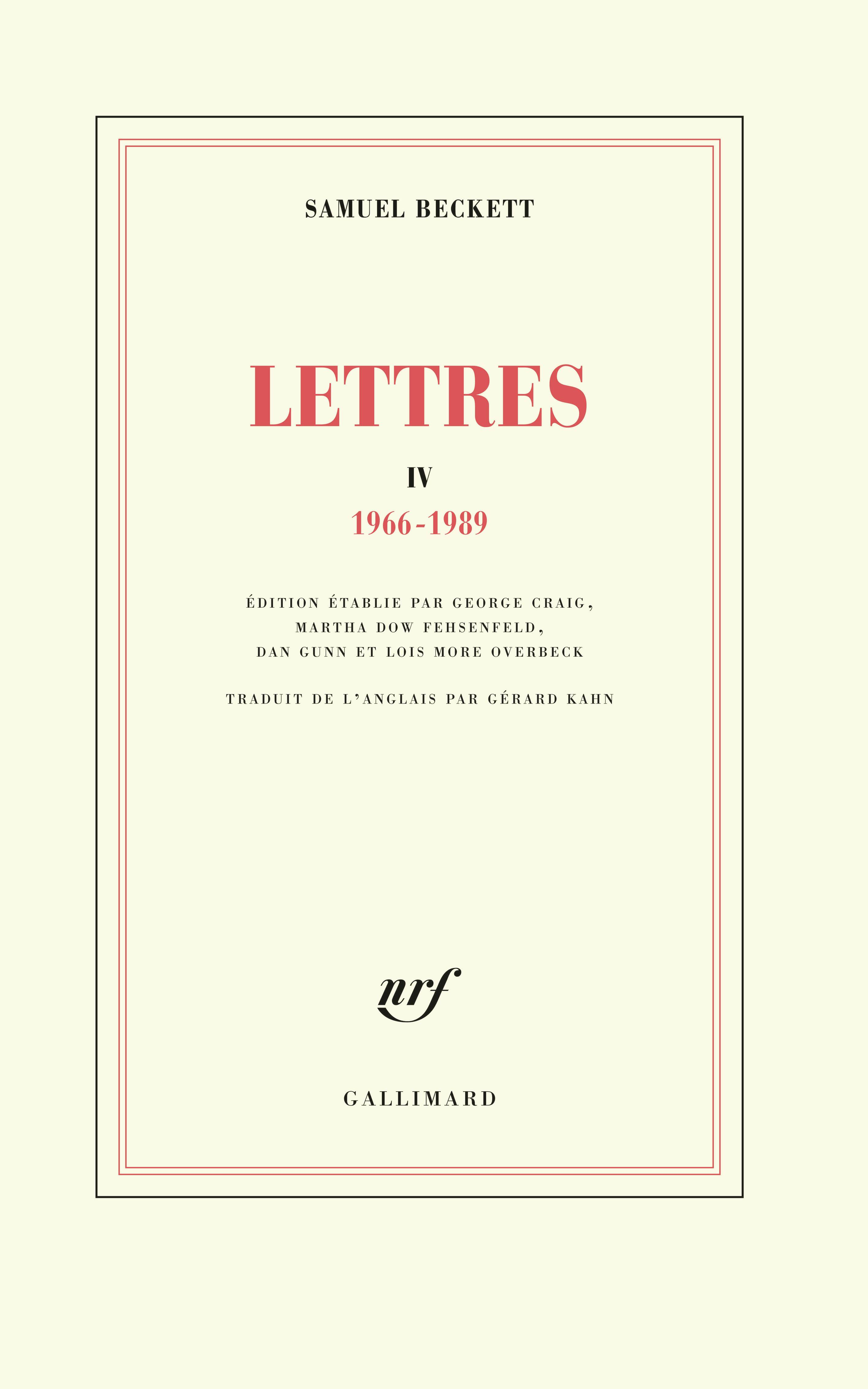 S. Beckett,  Lettres IV (1966-1989)
