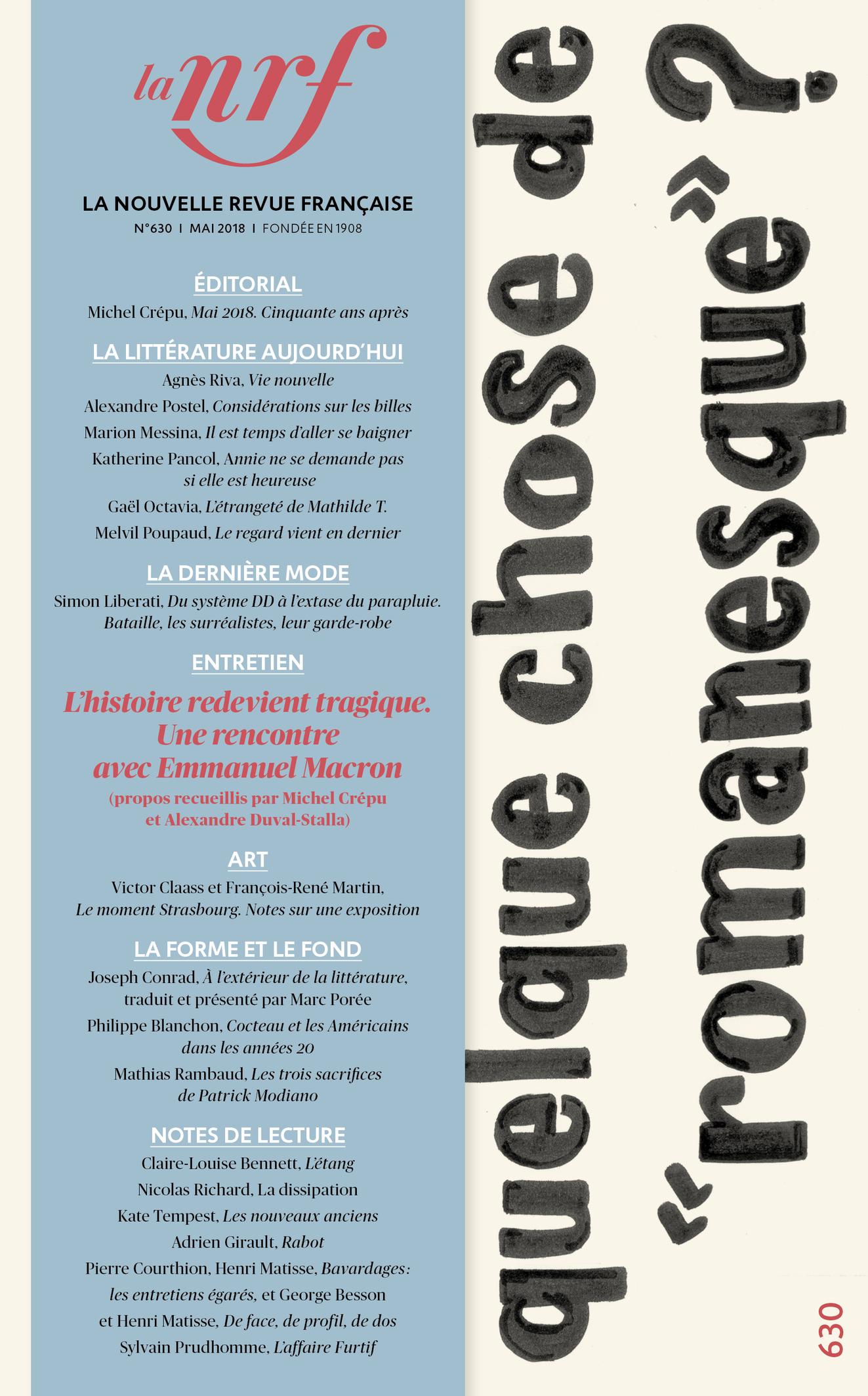 La Nouvelle revue française, n° 630, mai 2018