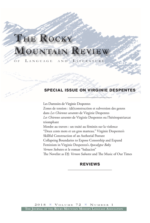Rocky Mountain Review, 72-1, édition consacrée à Virginie Despentes