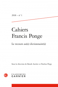 Cahiers Francis Ponge 2018, n° 1 :