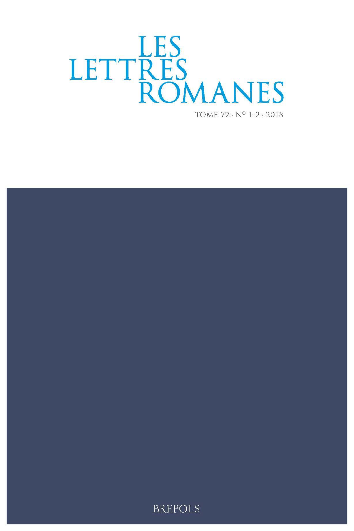 Les Lettres romanes, n° 72.1-2 (2018)