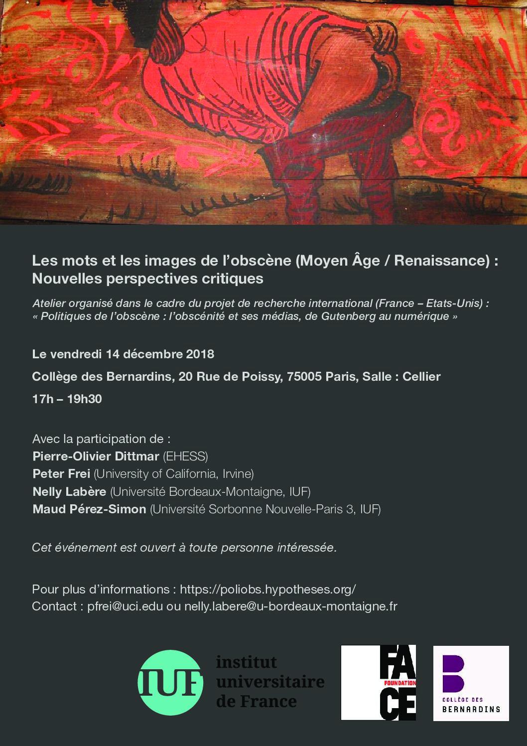 Les mots et les images de l'obscène (Moyen Âge / Renaissance). Nouvelles perspectives critiques (Paris)