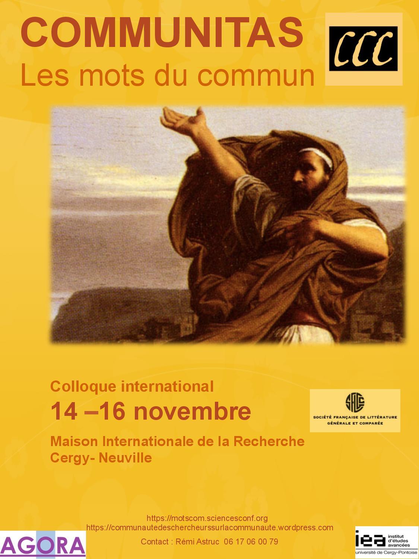 Communitas, les mots du commun (congrès SLFGC, Cergy)
