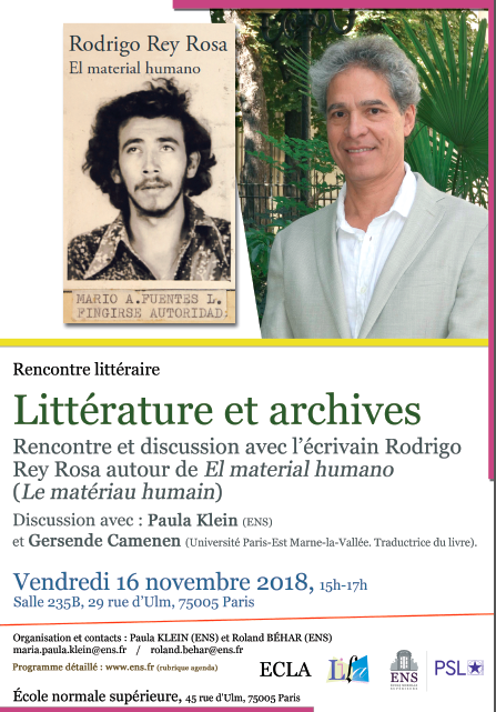 Littérature et archives : Rodrigo Rey Rosa, Le matériau humain (ENS Paris)