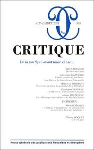 Critique,n° 858 :