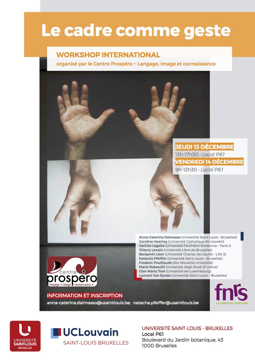 Le cadre comme geste (Univ. Saint-Louis, Bruxelles)