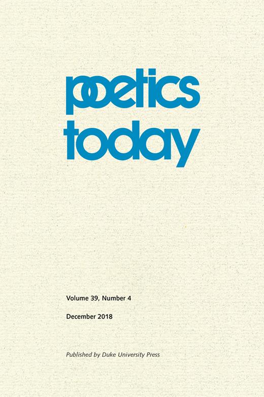 Poetics Today, n°39