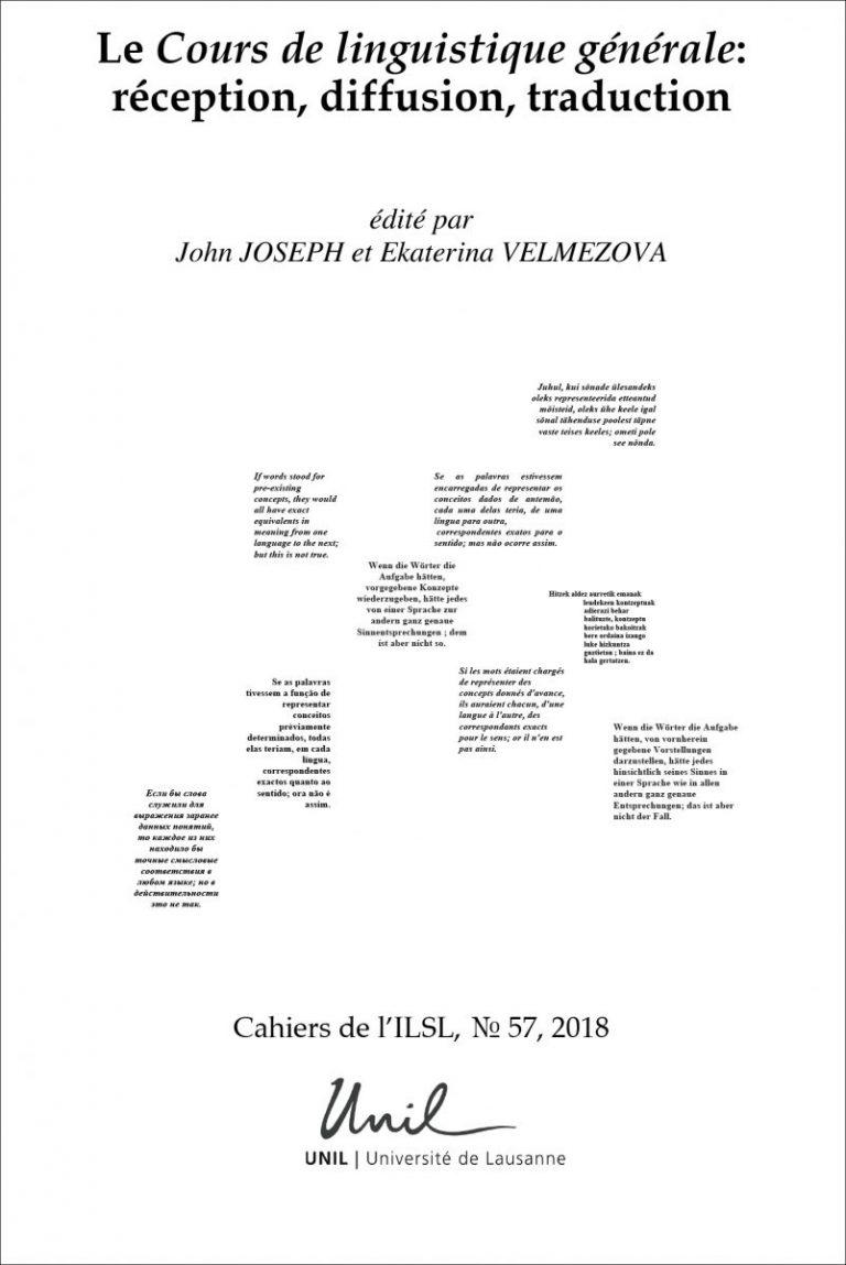 J. Joseph, E. Velmezova (dir.), Le Cours de linguistique générale : réception, diffusion, traduction