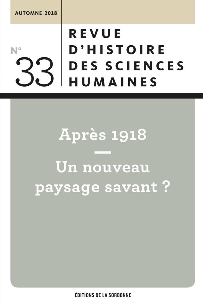 Revue d'histoire des sciences humaines (RHSH), n° 33: