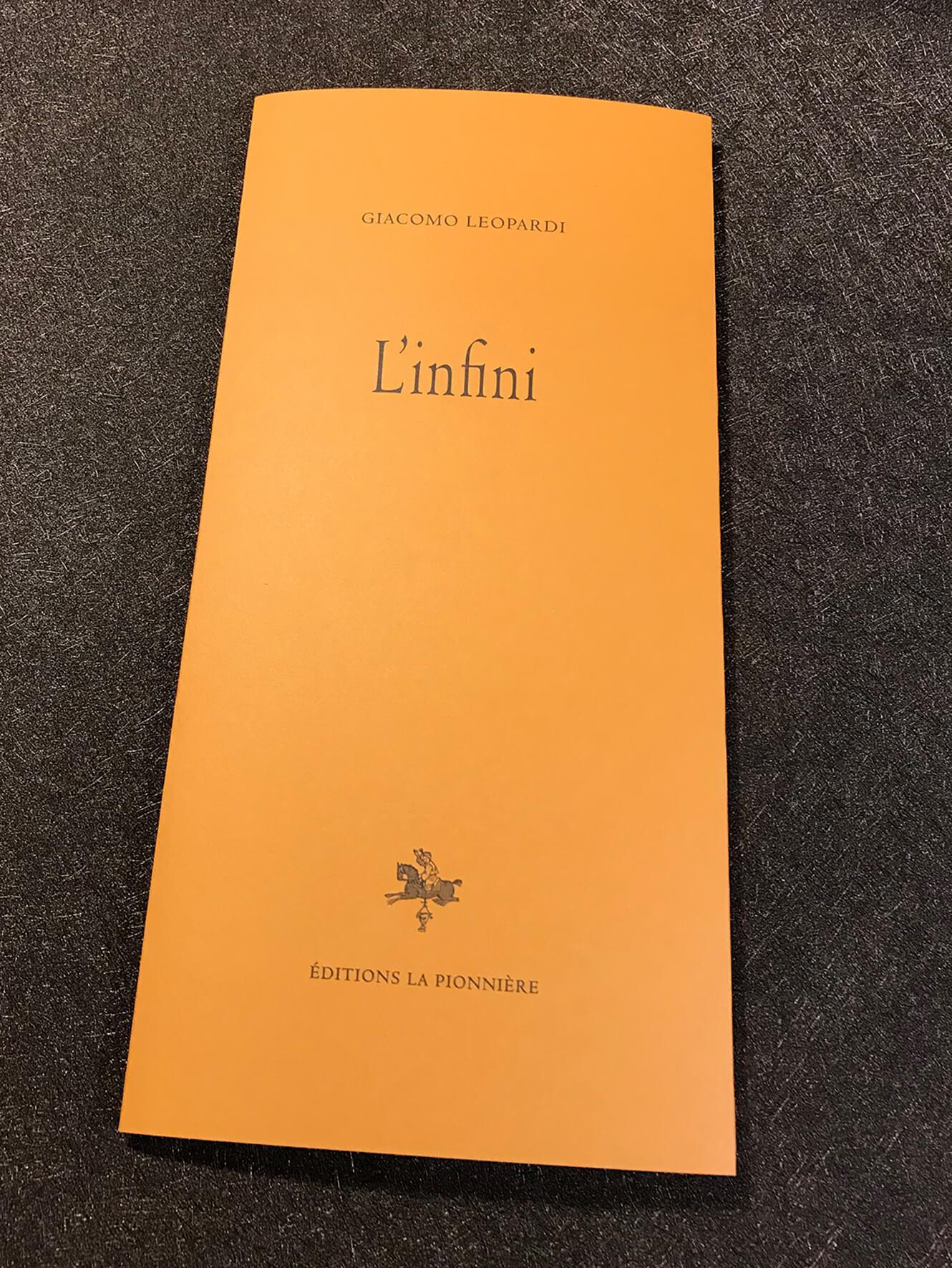Giacomo Leopardi, L'Infini (éd. P. Roux)