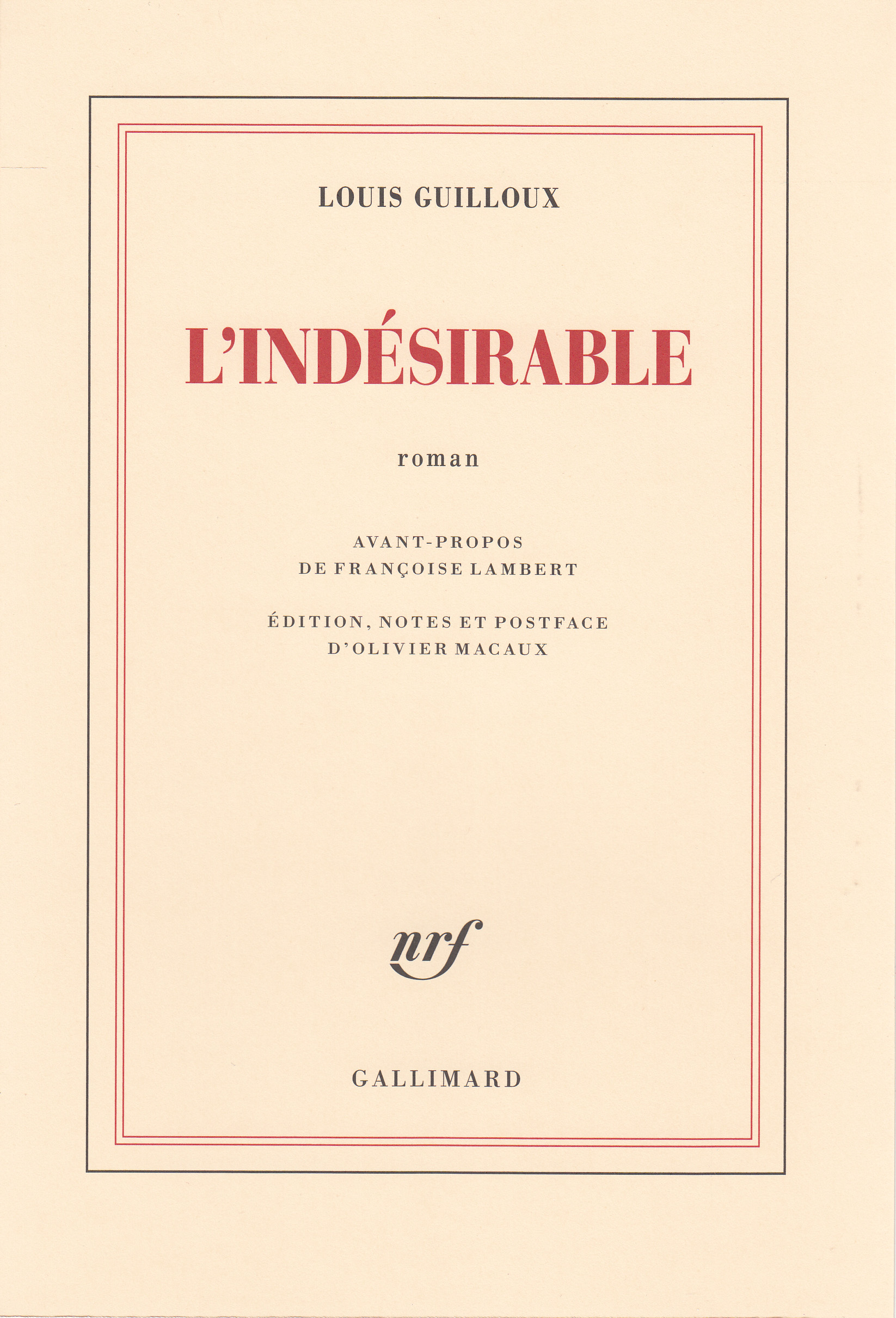 L. Guilloux, L'Indésirable (1923, inédit)