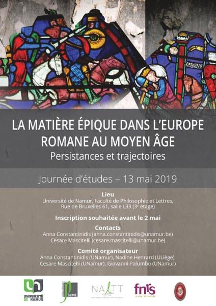 La matière épique dans l'Europe romane au Moyen Âge. Persistances et trajectoires (Namur, Belgique)