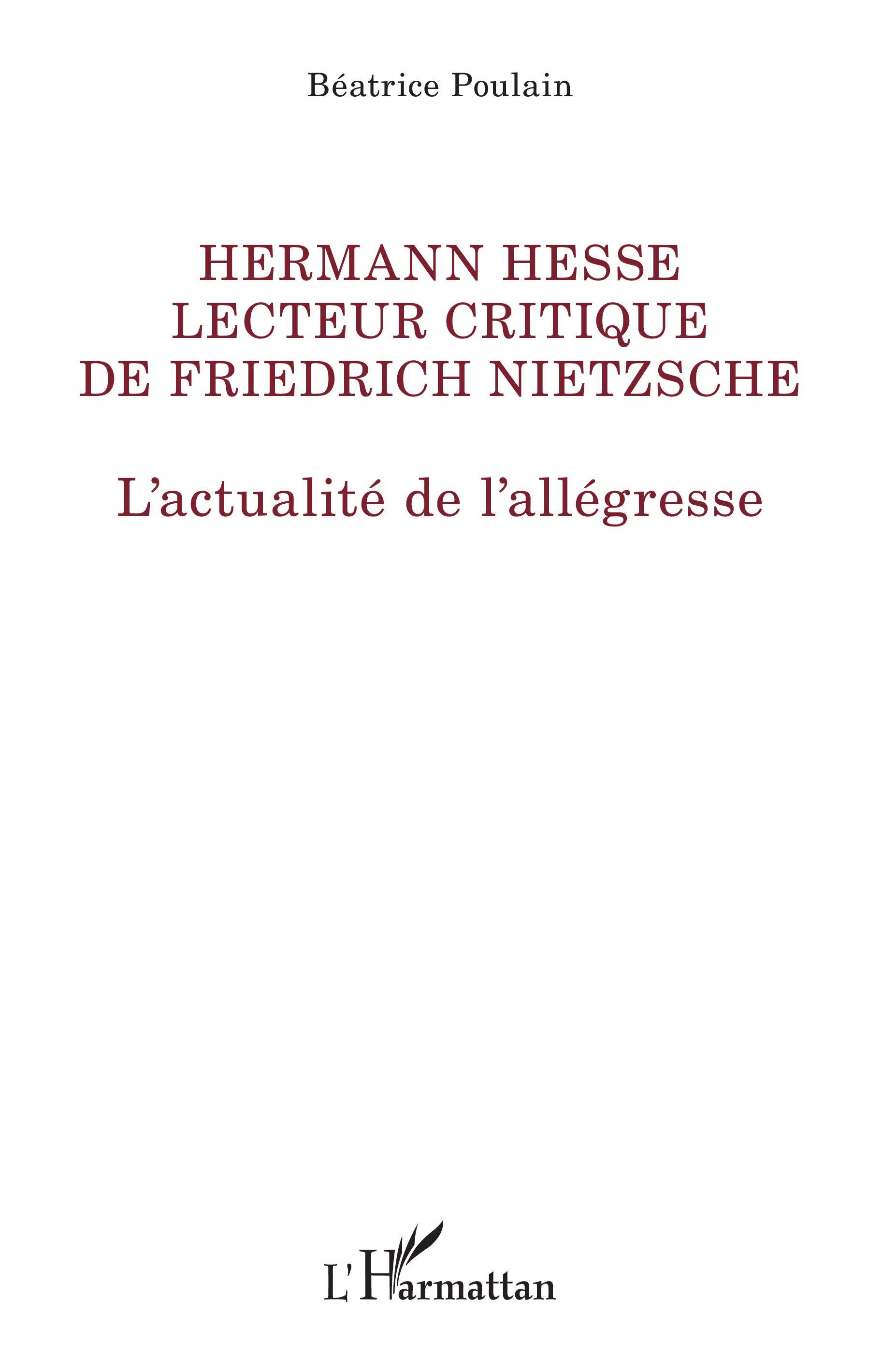 B. Poulain, Hermann Hesse lecteur critique de Friedrich Nietzsche