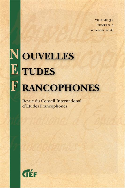 Nouvelles Etudes Francophones, vol.33, n°2 :